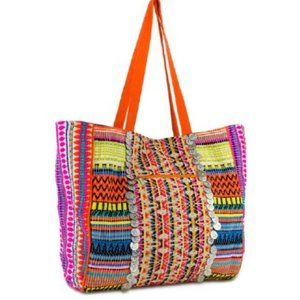 Tribal WovenLarge Tote with Coin Accents